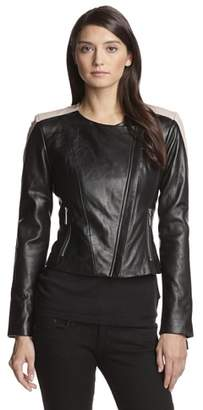 Vince Camuto Women's Color Blocked Moto Leather Jacket