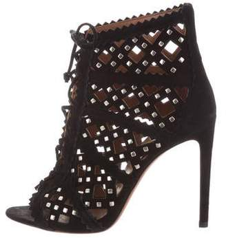 Alaia Laser Cut Lace-Up Boots