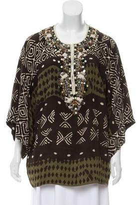Oscar de la Renta Embellished Silk Tunic