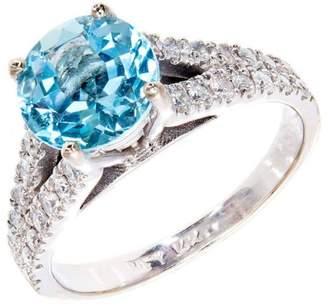 14K White Gold 1.80ct Aqua & 0.50ct Diamond Ring Size 7