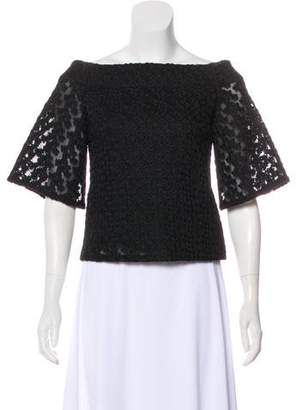 Tibi Mesh Embroidered Blouse