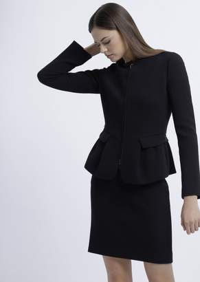 Emporio Armani Flared Double Crepe Jacket With Zipper And Peplum