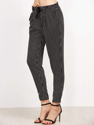Shein Vertical Pinstriped Tapered Leg Pants