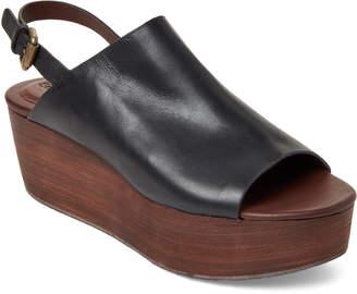See by Chloe Black Leather Platform Slingback Sandals