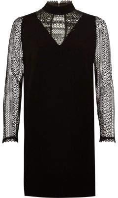 River Island Black lace long sleeve high neck swing dress