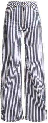 Rockins - Mega Loon High Rise Wide Leg Striped Jeans - Womens - Blue Stripe