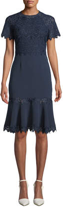 Jonathan Simkhai Embroidered Flounce Short-Sleeve Cocktail Dress