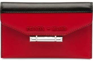 Prada Sybille two-tone leather card holder