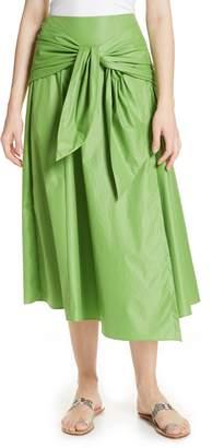 Tibi Glossy Tie Waist Midi Skirt