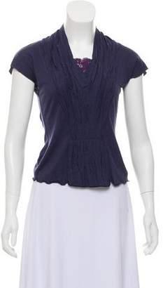 Alberta Ferretti Lace-Trimmed Cap Sleeve T-Shirt