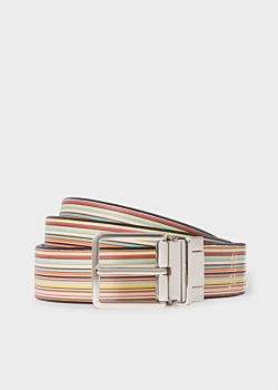 Paul Smith Men's Signature Stripe And Black Cut-To-Fit Reversible Leather Belt