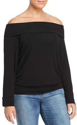 Elan International Plus Fold-Over Off-the-Shoulder Top