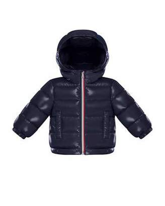 Moncler New Aubert Puffer Jacket w/ Tricolor Zipper, Navy, Size 12M-3T
