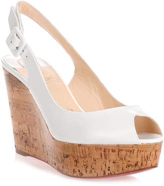 Christian Louboutin Une Plume white wedge sandal