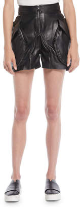 Tre by Natalie Ratabesi Giovanna High-Waist Zip-Front Calf Leather Shorts