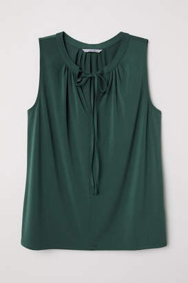 H&M Jersey Blouse with Tie - Green