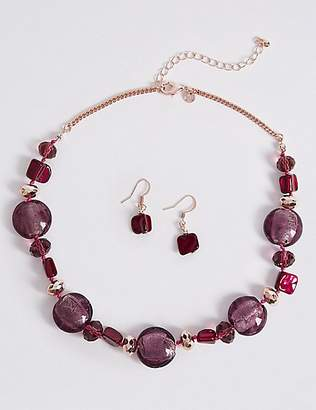 M&S Collection Berry Bead Shell Necklace & Earrings Set