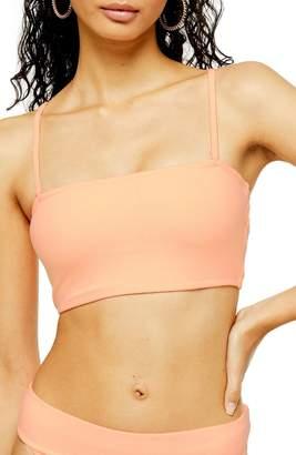 Topshop Velour Bandeau Bikini Top