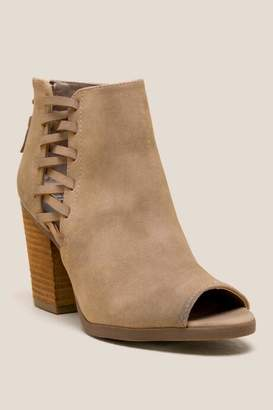 Dannah Side Lace Up Shootie - Taupe