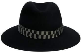 Maison Michel Black Green Henrietta Bondage Fedora Hat