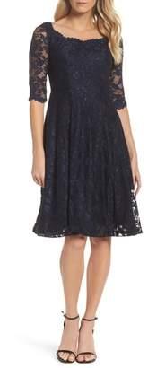 La Femme Fit & Flare Lace Dress