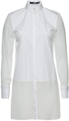 Karl Lagerfeld Cotton Shirt with Chiffon Hem