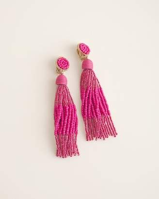 Chico's Chicos Pink and Gold-Tone Clip-On Chandelier Earrings
