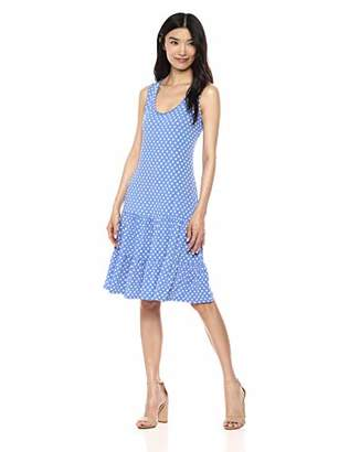 MSK Women's Casual Flounce Tiered Dress with dot Print