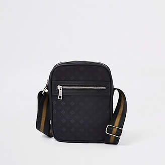 River Island Black front zip RI monogram print cross body