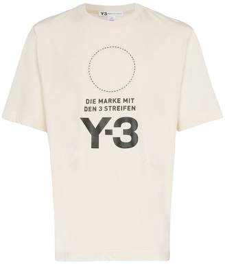 Y-3 logo and circle printed cotton t-shirt