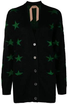 No.21 star intarsia V-neck cardigan