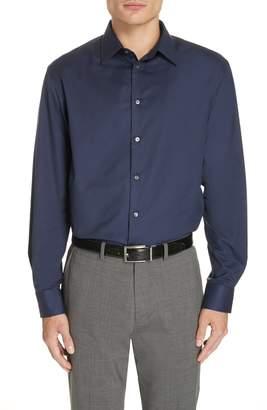 Emporio Armani Trim Fit Stretch Solid Dress Shirt