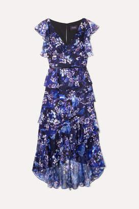 Marchesa Tiered Floral-print Fil Coupé Chiffon Midi Dress - Navy