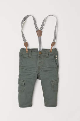 H&M Pants with Suspenders - Green