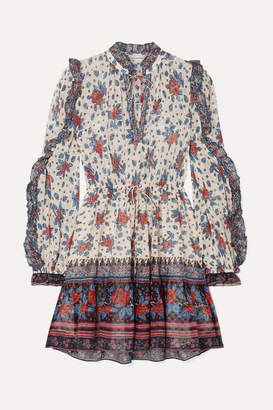 Ulla Johnson Dani Ruffled Floral-print Fil Coupé Silk-blend Chiffon Mini Dress - Burgundy