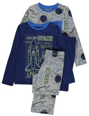 George Space Print Slogan Long Sleeve Pyjamas 2 Pack