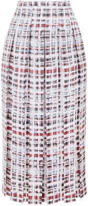 Burberry Pleated Scribble Check Midi Skirt