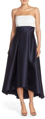 Women's Carmen Marc Valvo Infusion Beaded Colorblock High/low Gown $348 thestylecure.com