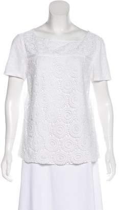 Tory Burch Embroidered Linen-Blend Top
