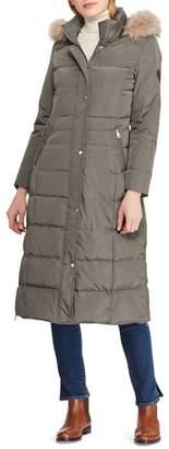 Lauren Ralph Lauren Long Down Coat with Faux Fur Trim