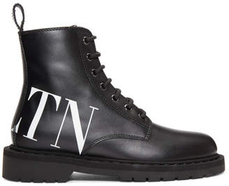 Valentino Black Garavani VLTN Lace-Up Boots