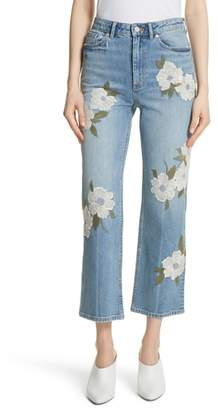 Rebecca Taylor Anais Floral Embroidered Crop Jeans