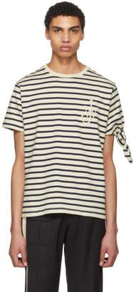 J.W.Anderson Black and White Breton Stripe Tie Knot T-Shirt