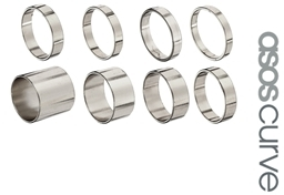 Asos Pack of 8 Smooth Rings - Silver