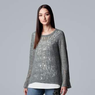 Vera Wang Women's Simply Vera Pointelle Mock-Layer Top
