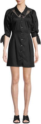 Opening Ceremony Button-Down Sateen Lace Mini Shirtdress