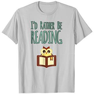 Cute Owl I'd Rather Be Reading Book Worm T-Shirt for Readers