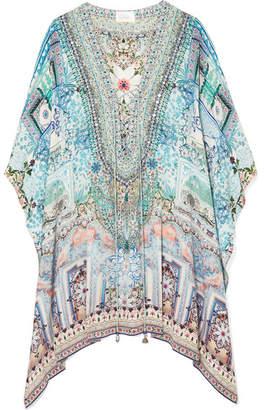 Camilla Lovers Retreat Embellished Silk Crepe De Chine Kaftan - Blue
