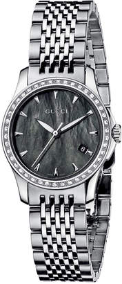 Gucci G-Timeless Small Stainless Steel & Diamond Bracelet Watch, Black