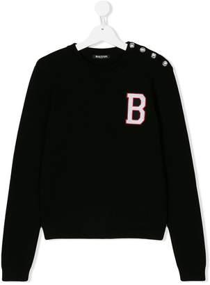 Balmain Kids button detail varsity sweatshirt